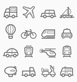 transportation symbol line icon set vector image