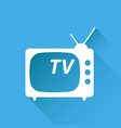 tv icon in flat style isolated on blue background vector image