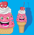 vanilla ice cream character with cherry character vector image vector image