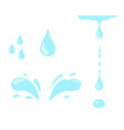 Water drop icon set blue spray tear