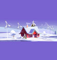 winter landscape with house and wind turbines vector image vector image