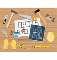 workplace carpenter projecting building repair vector image vector image