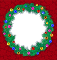 wreath tree branches Christmas balls vector image vector image