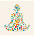 yoga meditation pose made colorful flowers vector image vector image