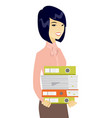 young asian business woman holding pile of folders vector image vector image