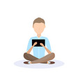 young man sitting pose isolated using laptop male vector image