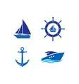 Ship Wheel Anchor and Yacht logo - isolated vector image