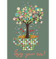Funny card with tea cup and flowers on the tree vector image