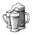 engraved beer glasses vector image