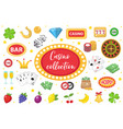 casino collection gambling set isolated on a vector image