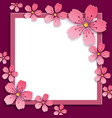 abstract frame with pink 3d sakura blossom vector image vector image