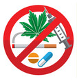 against drug abuse day flat sign on white vector image vector image