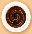 background of swirling black chocolate in a bowl vector image