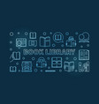 book library blue outline banner or vector image vector image