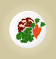 broccoli beans and carrot set vector image