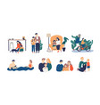 bundle happy loving family scenes good vector image