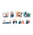 bundle of happy loving family scenes good vector image vector image