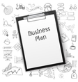 business plan on tablet with paper and hand draw vector image vector image