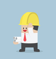 Businessman in yellow safety helmet with sheet rol vector image