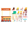 cafe furniture set takeaway interior vector image