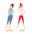 changes before and after a diet slim and fat vector image