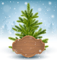 Christmas Tree with Wooden Frame in Snow on Wooden vector image