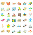 city tower icons set cartoon style vector image vector image