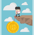 concept bitcoin loss businessman vector image vector image