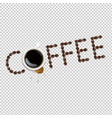 cup with coffee and plate and coffee grain and vector image