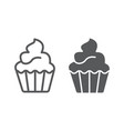 cupcake line and glyph icon sweet and tasty vector image