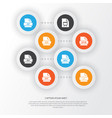 document icons set collection of ico audio file vector image vector image