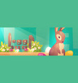 easter egg hunt poster with bunny and flowers vector image