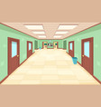 empty corridor with closed and open doors the vector image