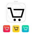 Empty supermarket shopping cart icon vector image
