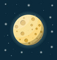fullmoon in night sky with stars vector image