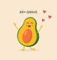 funny happy avocado character design vector image