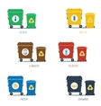 Garbage various types cans set vector image vector image