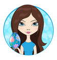 girl give an easter egg decorated with flowers vector image vector image