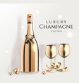 gold champagne bottles with wine glasses luxury vector image vector image