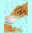 happy easter lettering handdrown background with vector image