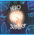 hello summer concept cute sun hand drawn summer vector image vector image
