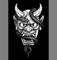 japanese mask of a demon with a snake vector image vector image
