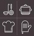 kitchen elements on dark background vector image vector image