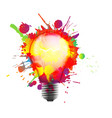 light bulb made colorful grunge splashes vector image vector image