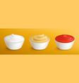 mayonnaise mustard sauce and ketchup in bowls vector image