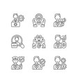 organization structure linear icons set vector image vector image