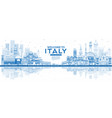 outline welcome to italy city skyline with blue vector image vector image