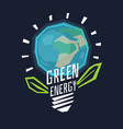 poster green energy with a globe in the light bulb vector image vector image
