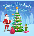 santa and elf decorating christmas tree vector image vector image