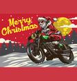 santa claus riding vintage motorcycle vector image vector image